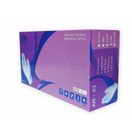 Rękawiczki nitrylowe niebieskie AM POLAND / 100szt / 8% VAT
