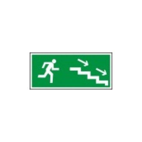 Znak kierunek do wyjścia drogi ewakuacji schodami w dół w prawo Z-8E