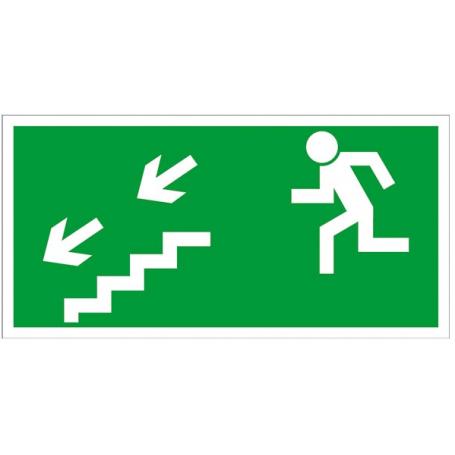 Znak kierunek do wyjścia drogi ewakuacji schodami w dół w lewo Z-7E