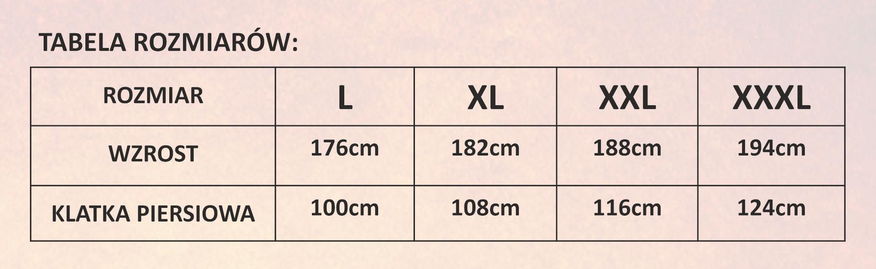 Tabela rozmiarów dla kamizelek siateczkowych 100g