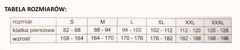Tabela rozmiarów dla kamizelek K8002